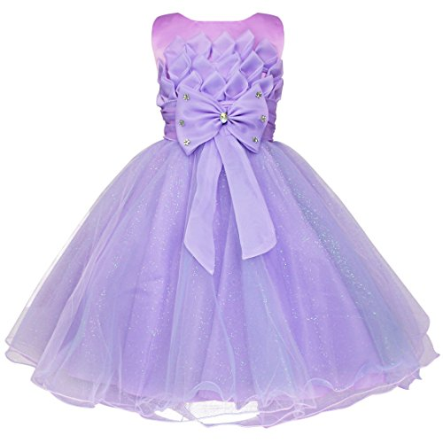 FEESHOW Baby little Girl's 3D Lotus Flower Pageant Party Wedding Tulle Dresses Size 5-6 Purple (Pageant Party Dress)