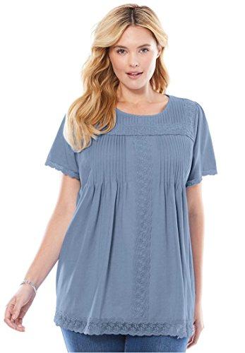 Womens Plus Size Lace Trimmed Cotton Tunic Blue Cloud 1X