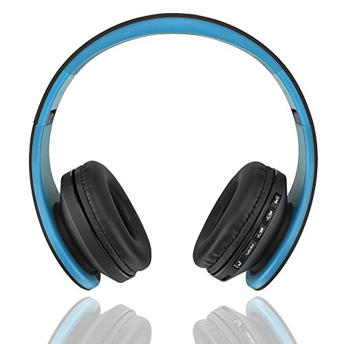 Fetta Wireless Foldable Over Ear Bluetooth Headphones with Mic Headsets with 3.5 MM Audio Cable for Sports Stereo Earphones for Bluetooth Enabled Devices (Blue)