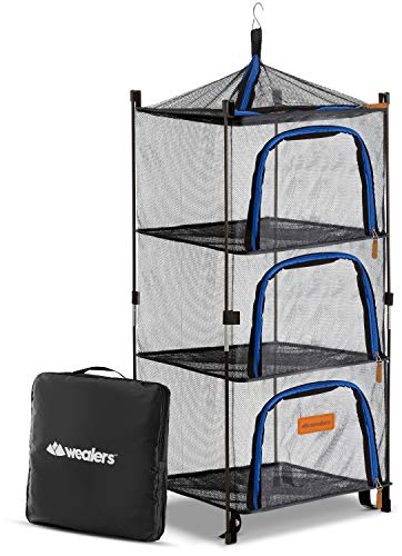 Wealers Outdoor Dry Net Storage and Food Screen 3-Tier Camping, Barbecue, Picnic Meal Protection Organizer | Repel Bugs and Insects | Faster Herb, Clothes, Dish Drying | Foldable (New Version)