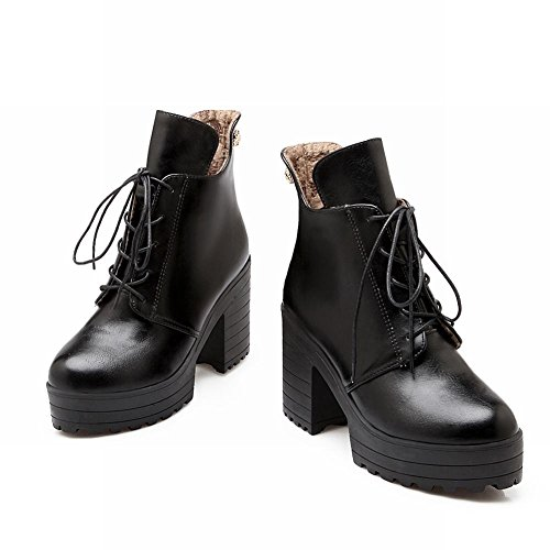 Carolbar Womens Fashion Lace Up Platform Pu Cold Weather Use Vintage Retro Alto Tacco Grosso Stivali Corti Neri