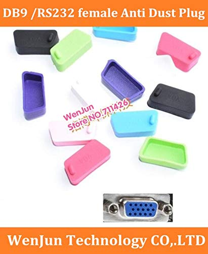 ShineBear Wholesale!! Soft Silica Gel DB9 Female dust Cover dust Plug RS232 Female Anti-Dust Stopper for Laptop/Computer/Router - (Cable Length: 500pcs, Color: Black) by ShineBear