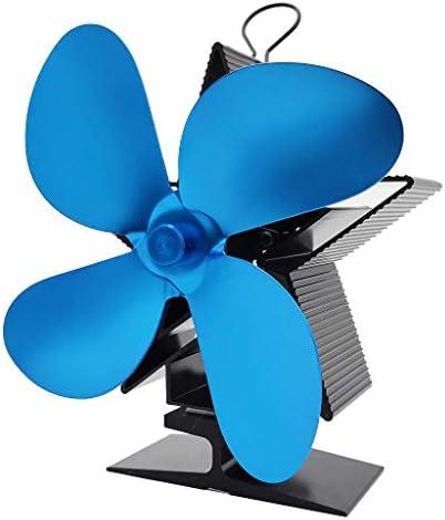 4 - ブレード熱パワードストーブファン ウッド/ログインバーナー/暖炉のために、2ブレードファンより80%より暖かい空気を増加します,ブルー