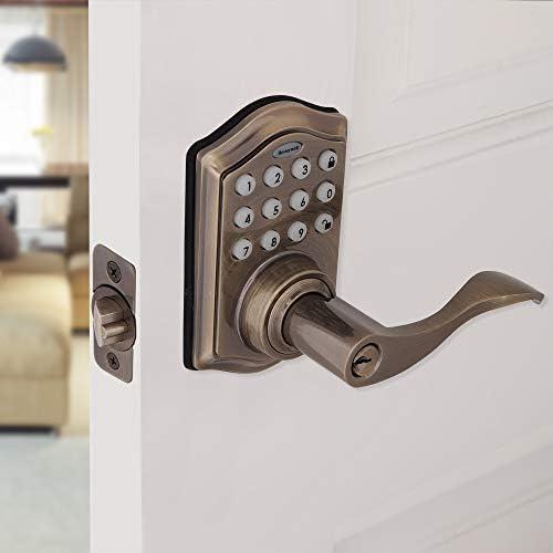 Honeywell Safes & Door Locks - 8734101 Electronic Entry Lever Door Lock, Antique Brass