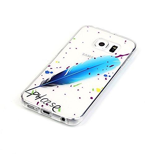 Funda Samsung Galaxy S6 EDGE con Anillo cariñoso,SainCat Suave Silicona y Brillante Caja Protectora con Chispea Diamante Bring Glitter de Transparente ultra fino Funda de silicona de goma de TPU para  piuma blu