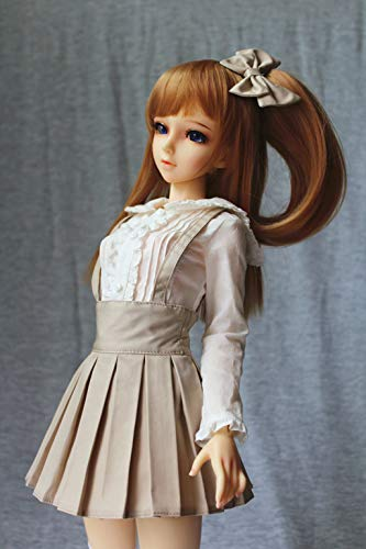 HYCY BJD Handmade Doll Dress Student Pleated Suspender Beige Dress for 1/3 SD, AS, LUTS, DOD, DZ Dolls Clothes Accessories (Beige)