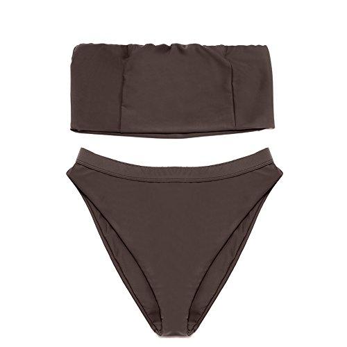 6dd40ef0be450 Dixperfect Women s Two Piece Bikini Sets Sexy Bandeau Top High Waisted  Bottom Beach Swimwear