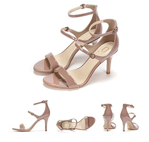 alla moda estate Pattini eleganti moda Colore dimensioni cuoio talloni eleganti dei aperti 38 di 8cm dei tallone Rosa alla di sandali Rosa dell'alto femminili nudi scalzi qqxrw80A
