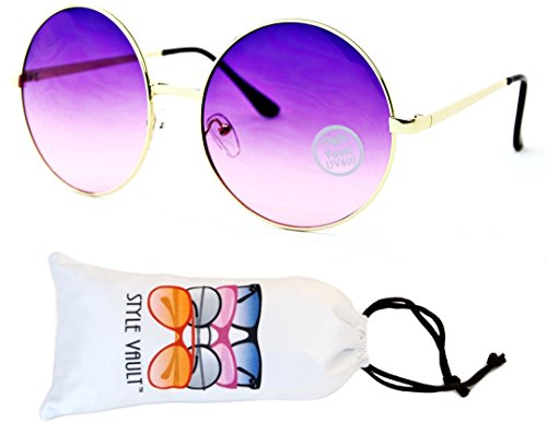 V129-vp Round Oversize Lens Metal Sunglasses (033C Gold-Purplish Pink, - Round Big Sunglasses Retro