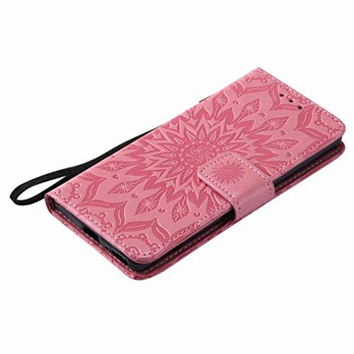 Yiizy Sony Xperia XA Custodia Cover, Sole Petali Design Sottile Flip Portafoglio PU Pelle Cuoio Copertura Shell Case Slot Schede Cavalletto Stile Libro Bumper Protettivo Borsa (Rosa)
