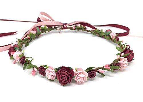 Daddasprincess Flower Girl Crown Wedding Boho Headpiece Headband Hair Wreath (Burgundy and Blush)