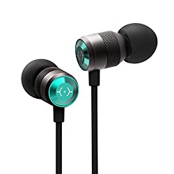 Dual Driver Hi-Res Wired Metal In Ear Earbud Headphones with 3.5mm Jack | Noise Isolating Extra Bass Earphones With 3-button Remote and Mic for Iphone/Android | Chalked Gunmetal&Green
