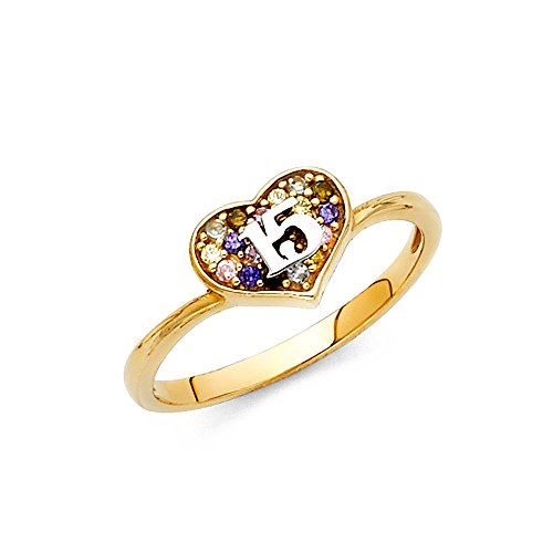 14k Yellow Gold Sweet 15 Ring Heart Quinceanera Band CZ Multi Color Stylish Polished Fancy Size 5.5 14k Yellow Gold Sweet