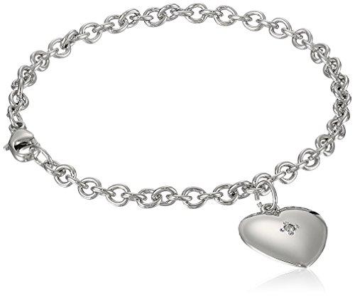 "Children's Sterling Silver Heart Charm Bracelet with Diamond, 6.25"""