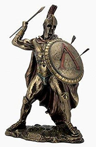 (Leonidas Spartan King with Spear And Shield Statue Sculpture Figure 12 3/4 Inch Tall)