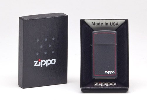 Zippo Slim Black Matte Lighter w/ Zippo Border - 1618ZB