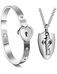 His and Hers Matching Set, Titanium Key Pendants Necklace Heart Bangle Bracelet Prevent Allergy&Fade Couples Lock Jewelry Sets