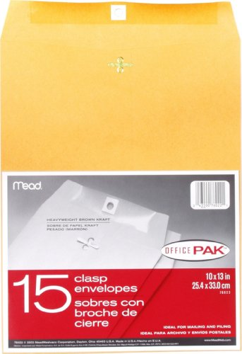 Mead 10X13 Clasp Envelopes, Office Pack 15 Count (76022)