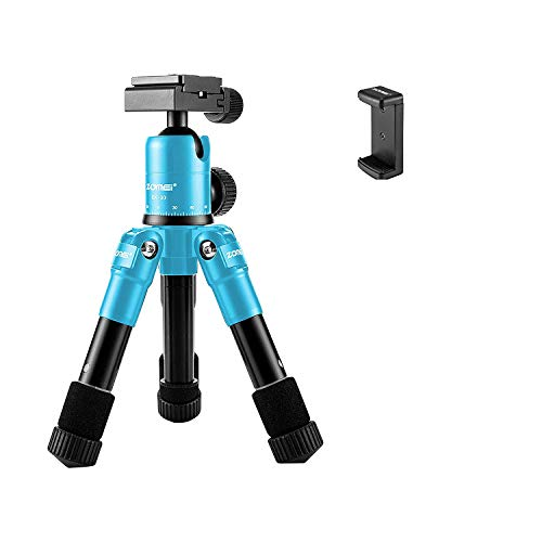ZOMEI ZM-HR-CK30-Blue-01 Lightweight Compact Aluminum Alloy Mini Desktop Tabletop Tripod with 360 Degree Panoramic Ball Head and Quick Release Plate for Canon Nikon DSLR Cameras, Blue ()