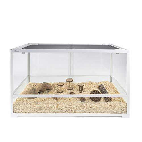 Niteangel Glass Pet Cage for Hamsters Gerbils Rats Mice Rodent – Raised Bottom Frame to Match Litter Height – Optimal air Circulation – Meet The Desire of Feeding a Hamster in a Terrarium (White)