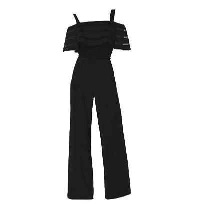 dfa18c5c73e2 Women's Elegant Short Sleeve Spaghetti Strap Jumpsuit Rompers Lace Ruffle  Edge Wide Leg Palazzo Cropped Pants