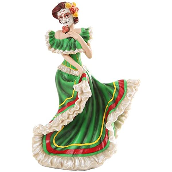 Pacific Giftware Day Of The Dead Green Salsa Dancer 5 X 7 Resin Stone Decorative Tabletop Figurine Home Kitchen Amazon Com