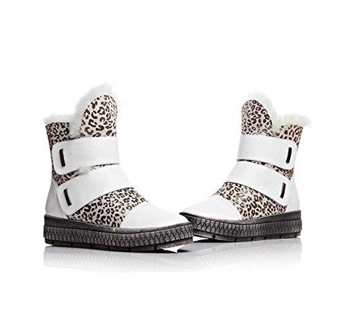 35 femmina donna Piattaforma stivali Bootie Velcro WHITE in e neve scarpe velluto pelle 36 confortevole tubo stabile corto cotone 5ZqAwZa