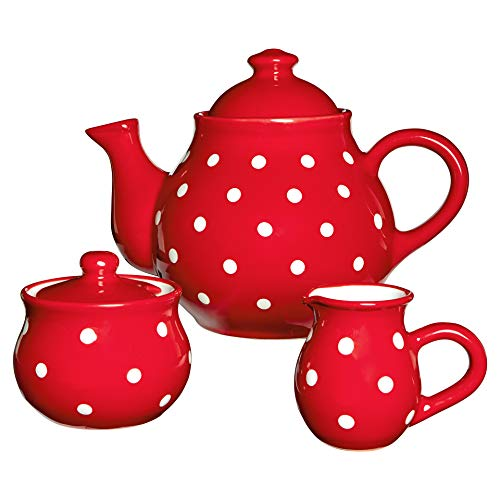 - City to Cottage Handmade Red and White Polka Dot Large Ceramic 1,7l/60oz/4-6 Cup Teapot, Milk Jug, Sugar Bowl Set, Pottery Tea Set, Housewarming Gift for Tea Lovers