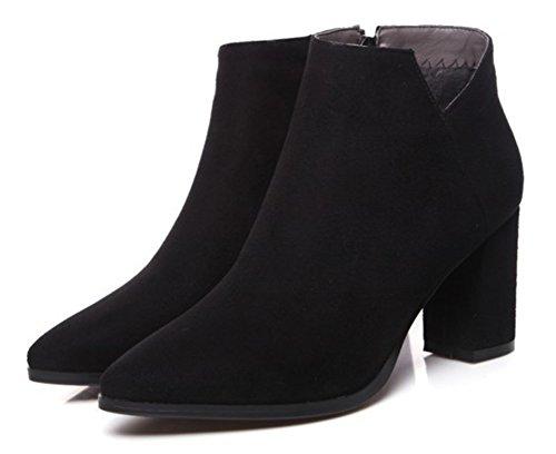 Bottines Pointu Femme Noir Bout Unie Aisun Mode Couleur agfw6x