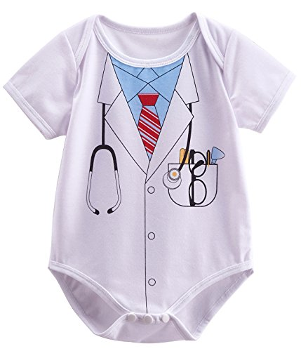 Mombebe Baby Boys' Doctor Bodysuit Newborn Halloween Costume (0-3 Months, White) -