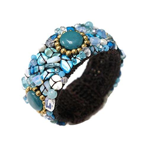 PtPt, Blue Turquoise Mix Beads Stone on Adjustable Bangle Wax Cord Wrap, Bracelet Fashion Jewelry Women
