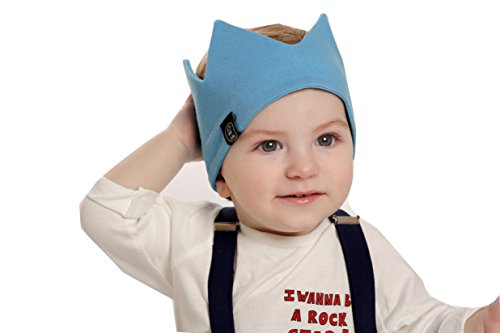 [Mini King Cotton Crown Beanie- Baby Birthday Crown Headband- Stretchy Party Hat for Boys- Great Boy Fashion Accessory- Cute Baby Shower Gift for Boys] (Sports Day Costume Ideas Blue)