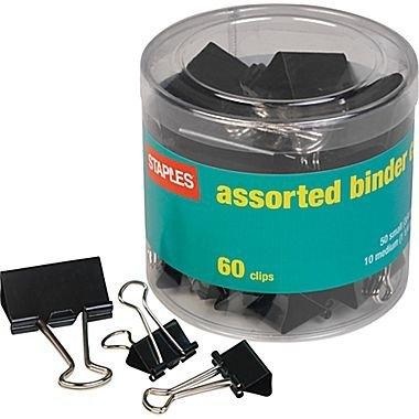 STPL Staples Binder Clips, Assorted Sizes, Black, 60-Pack