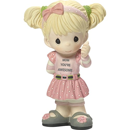 Precious Moments My Mom's Awesome Girl with Thumbs Up Bisque Porcelain Home Decor Collectible Figurine 173003