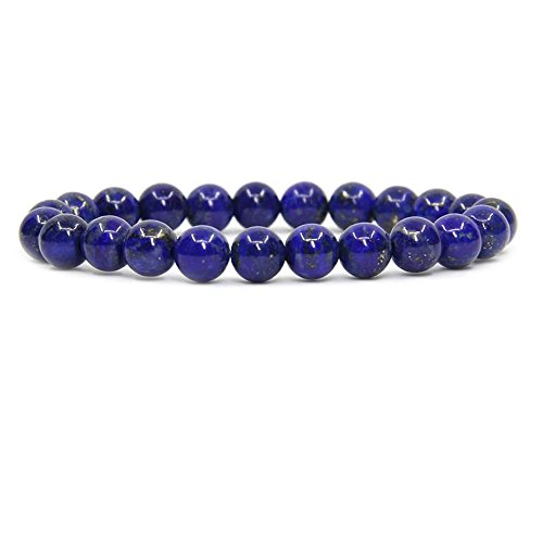 Natural Lapis Lazuli Gemstone 8mm Round Beads Stretch Bracelet 7