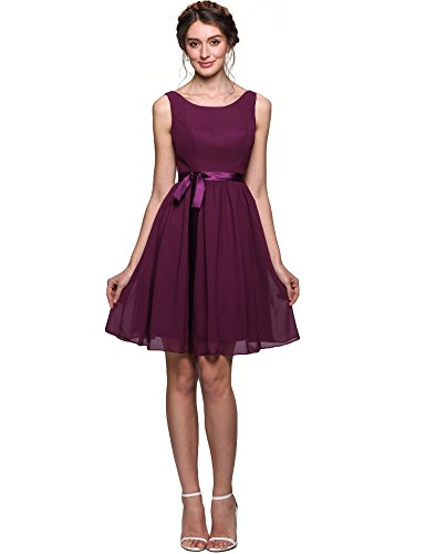 Charmeuse Chiffon Skirt (ANGVNS Women's A-Line Scoop Neck Knee-length Chiffon Bridesmaid Dress Cocktail Evening Gown with Charmeuse Sash, Size 4,)