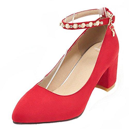 AIYOUMEI Damen Wildleder Knöchelriemchen Chunky Heel Pumps mit 6cm und Strass Absatz Abend Bequem Schuhe Rot