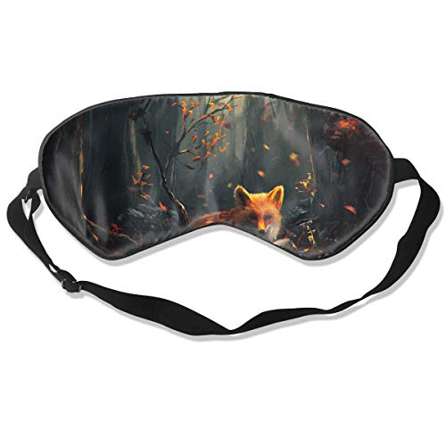 Homlife Sleep Mask 100% Silk Eye Mask Nature Cute Fox Graphics Eye Cover Sleeping Mask for Travelling, Night Noon Nap, Mediation Or -