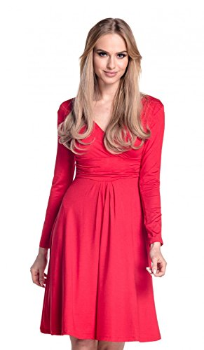 Glamour 890 Rouge taille fronce Femme Robe longues manches jersey Empire Robe rBtrqxv