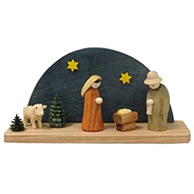 Colored Arched Miniature Nativity Scene German Wood Christmas Figurine Germany