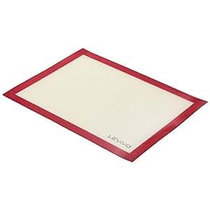 Levivo Tapete para Hornear de Silicona, Estera de Horno Antiadherente, Lámina de Horno Apta para el Lavavajillas - Estera para Hornear, 30 x 40 cm, Rojo
