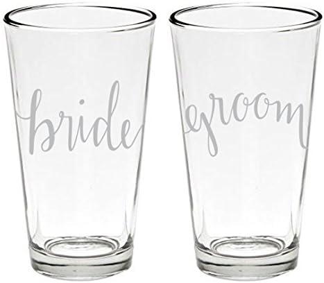 Bride Full 16 oz. Wedding Party Beer Pint Glasses