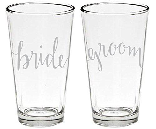 Bride and Groom Set of 2, Wedding Party Beer Pint Glasses, Full 16 oz. (And Glasses Cheap Bride Groom)