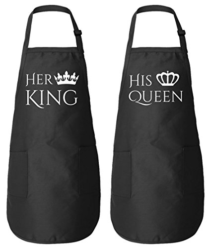 Her King - His Queen Matching Couple Aprons for Him and Her - Wedding Anniversary Gifts (King Grill Apron)