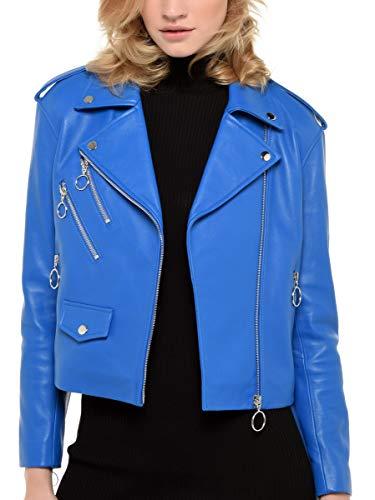 Arturo Perfecto Blouson Anneaux Bleu Femme Couleur Style Zip Taille Et Cuir 40 HrHxqdWRA