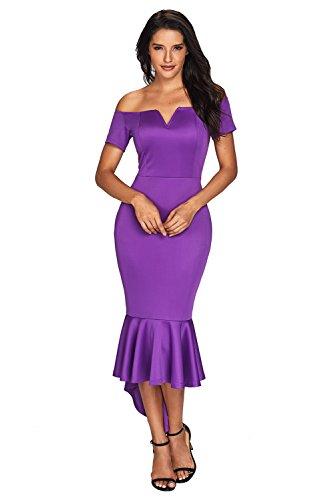 Ouregrace Womens Fishtail Long Evening Dress Off Shoulder Party Dress -