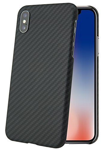 iPhone x Case,Yhzo Aramid Fiber iPhone X Phone Case,Super Slim Fitting(0.7mm) Classic Plaid Ultra Light(12g) Sturdy Non-Slip case Lightweight Shell Protective for iPhone X (Black)