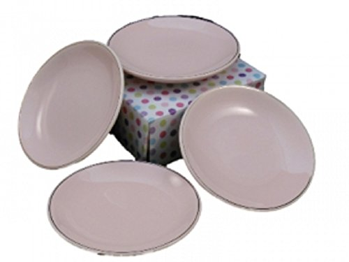 Princess Pink Pattern Fine China Cupcake Plates for Children's Tea Parties Set of Four (Doll 18' Porcelain)