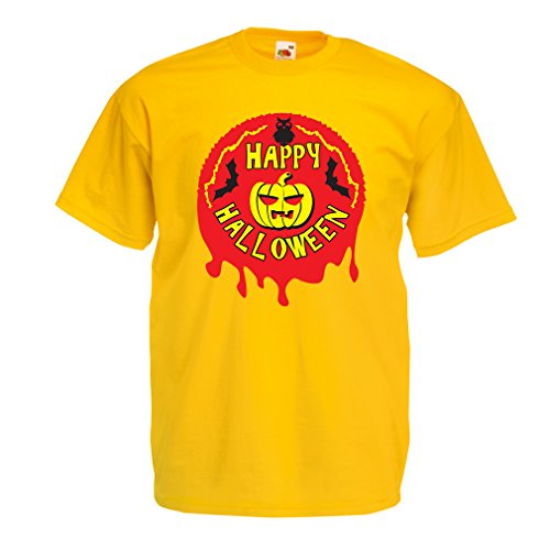 T Shirts for Men Happy Halloween! - Party Clothes - Pumpkins, Owls, Bats (Medium Yellow Multi Color)]()