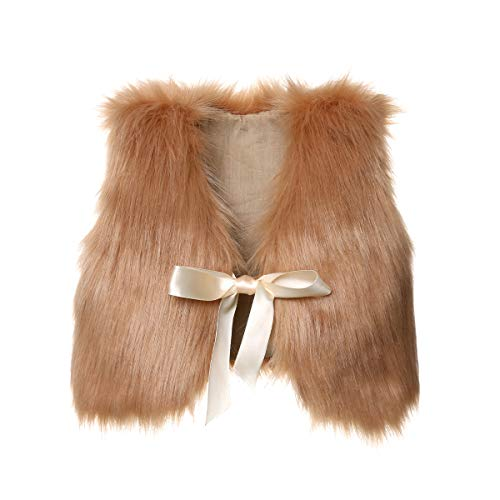 XBRECO Toddler Girl Faux Fur Vest Coat Winter Warm Waistcoat Outerwear (6-12 Months, Light Brown)]()